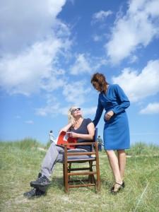 mit Ewa Karlström bei den Dreharbeiten